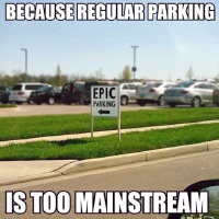 Parking lot sign: 'Epic Parking'